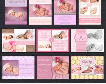 INSTANT DOWNLOAD - Birth Announcement Templates - Baby Girl Pack 1 - 10 PSD
