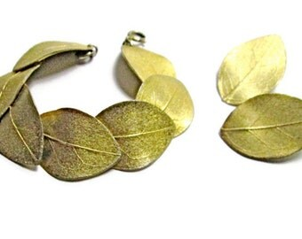 Vintage Mosell Bracelet and Earrings Demi Parure Gold Leaves 1950s