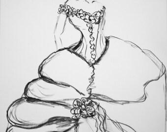 wedding dress drawing custom wedding dress sketch