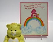 Reserved for Sally 1980s Care Bear Wall Plaque and Ceramic Figure in Fair Condition 80s Retry Rainbow Yellow Pink carebear