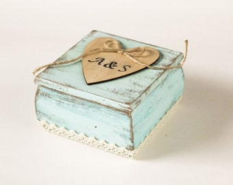 Rustic Ring Bearer Box with Pillow Wedding Box Aqua Ring Bearer Box Ring Bearer Wedding box Personalized Ring Box Engagement Ring Holder