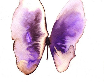 purple orchid and white gold butterfly. original watercolour painting