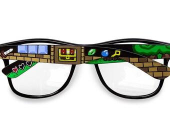 Legend of Zelda glasses gift for him gift for gamer geek men women Wayfarer Prescription frames unique hand painted Triforce video game 8bit