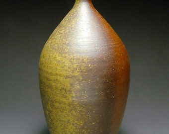 Brown Wood Fired Vase or Bottle with Side Wadding Marks and Mustard Yellow Ash Collection