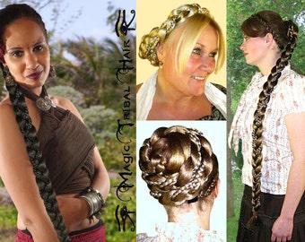 RAPUNZEL BRAID hair piece fall PONYTAIL extension 90 cm/ 36'' long C U S T O M colour Tribal Fusion Belly Dance Reenactment Norse Viking wig