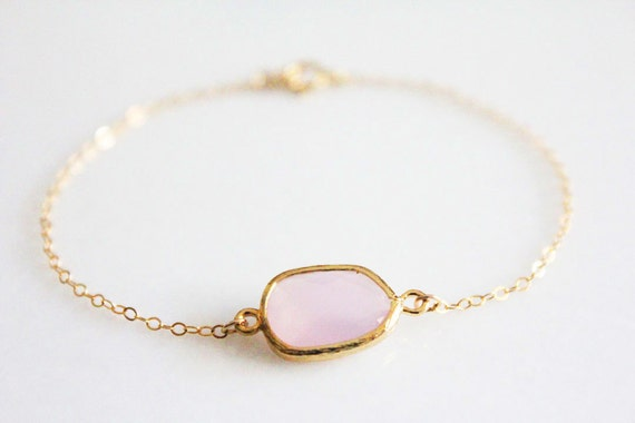 Pink & Gold Glass Bracelet