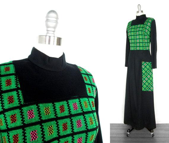 Vintage 1960s Dress | Black and Green Tapestry 1960s 70s Maxi Dress | Boho Dress | small - medium