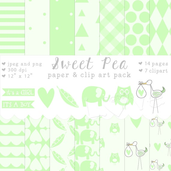 sweet pea baby shower announcement digital collage paper pack