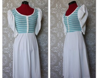 Vintage 1970's 80's White and Blue Stripe Dress with Puffed Sleeves S/M