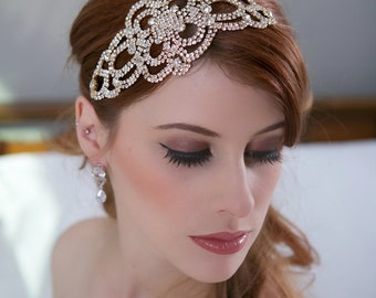 Rose Gold Crystal Bridal Headpiece, Crystal Wedding Head piece, Rose Gold Hair Comb, Art Deco Great Gatsby Crystal Bridal Hair Accessories