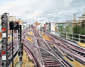 TRAINS - Train yard in New York 8 x 10