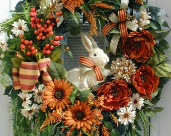 Large Elegant Fall Wreath Spring Summer Wreath Straw Sisal Bunny Rabbit Silk Floral Decor Easter Grapevine Decoration Front Door Wreath