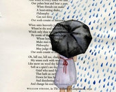 Harmony - Original Watercolor Painting - on Antique Book page - 8x6 inches