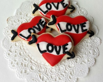 Love Tattoo Heart Cookies - Mini Bites - 3 Dozen Mini Cookies