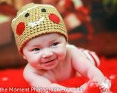 Gingerbread Man Hat Crochet Christmas Holiday Beanie Newborn Photo Prop Caramel Tan Beige Sizes 0-3 Months 3-6 Months 6-12 Months