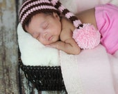 Pink and Brown Stripe Long Tail Hat Newborn Photo Prop Pom Pom Stocking Elf Hat