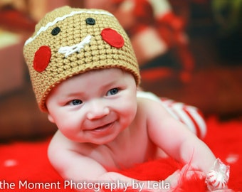 Gingerbread Man Hat Crochet Christmas Holiday Beanie Newborn Photo Prop Caramel Tan Beige Sizes 0-3 Months 3-6 Months 6-12 Months