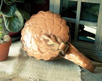 Vintage Copper Oak Leaf Hand Hammered Gregorian Silent Butler