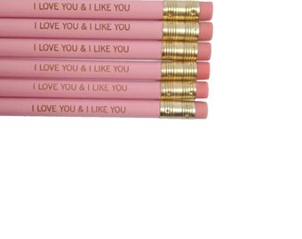 I love you and i like you 6 engraved pencils in pink. happy valentine's day.