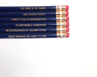 impossibly awesome overlord Pencil set of 6 in navy.