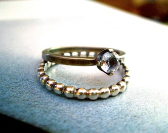 Sparkle Ring in White Topaz and Sterling Silver