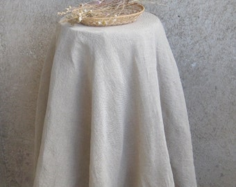 Round Linen Tablecloth Burlap Gray, Wrinkled Wedding Table Cloth, Rustic  Washed Table Linens,
