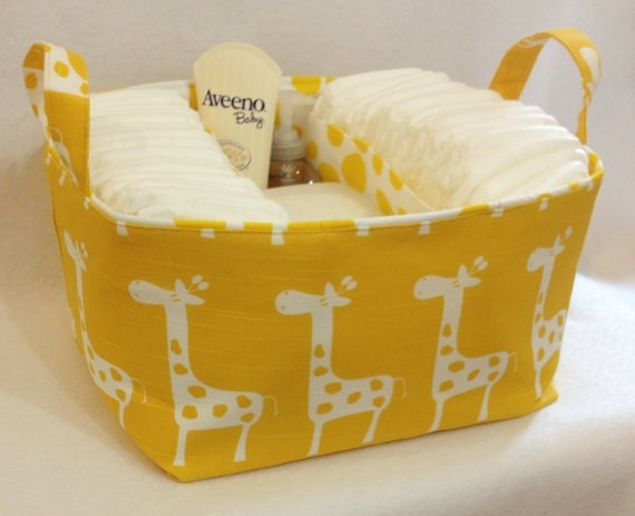 "XL or XLA Diaper Caddy 13""x11""x7"" Fabric Bin, Fabric Storage Organizer, Basket, Yellow/White Giraffe with Spotted Yellow Lining"
