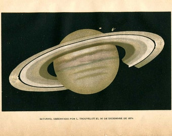 Antique Print Saturn 1901 Color Lithograph, Astronomy Print, Planet