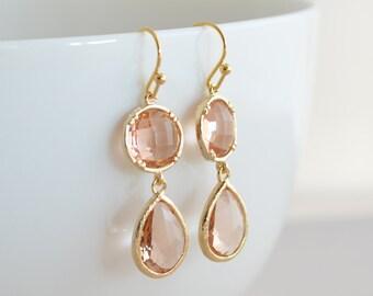 30% OFF, Champagne earrings, Gold earrings, Topaz earrings, Clip earrings, Wedding jewelry, Bridal earrings, Bridesmaid gift,Christmas gift