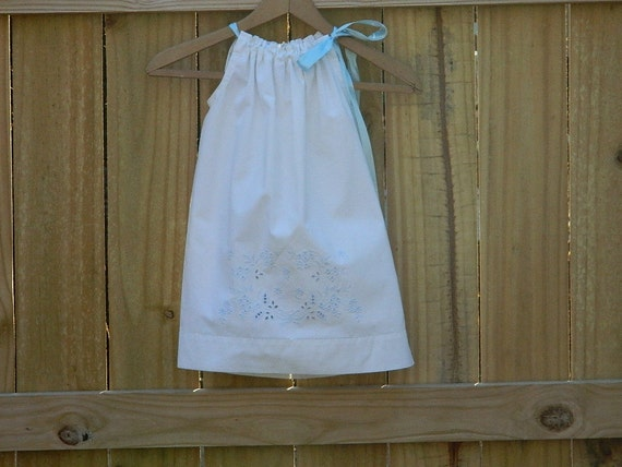 Children's Clothing Summer Clearance , Pillowcase Dress , White Summer Dress , Upcycled Vintage Linens/ OOAK Shabby Chic/