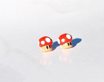 Mario Bros Mushroom.  Earrings