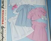 New  Simplicity  Baby Layette pattern 2629 size A xxs xs s m l