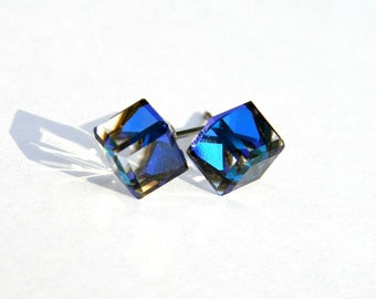 Bermuda Blue Stud Earrings  6mm Swarovski Crystal Cube Titanium Post Earring  Hypoallergenic ALS Awareness Jewelry