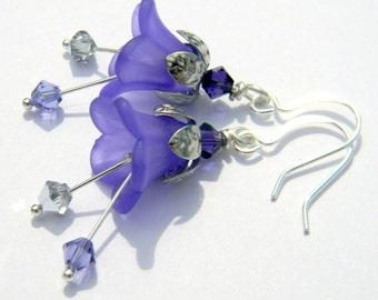 Violet Fairy Earrings  Swarovski Purple Velvet, Tanzanite, & Mirror Finish Beads  Hypoallergenic Silver Beaded Jewelry  Steampunk Victorian