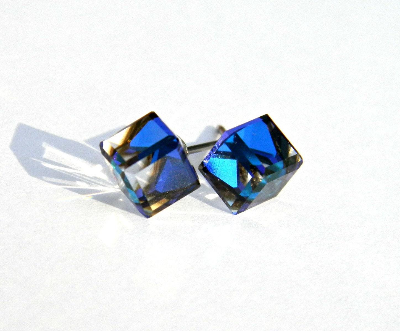 Bermuda Blue Stud Earrings 6mm Swarovski Crystal Cube