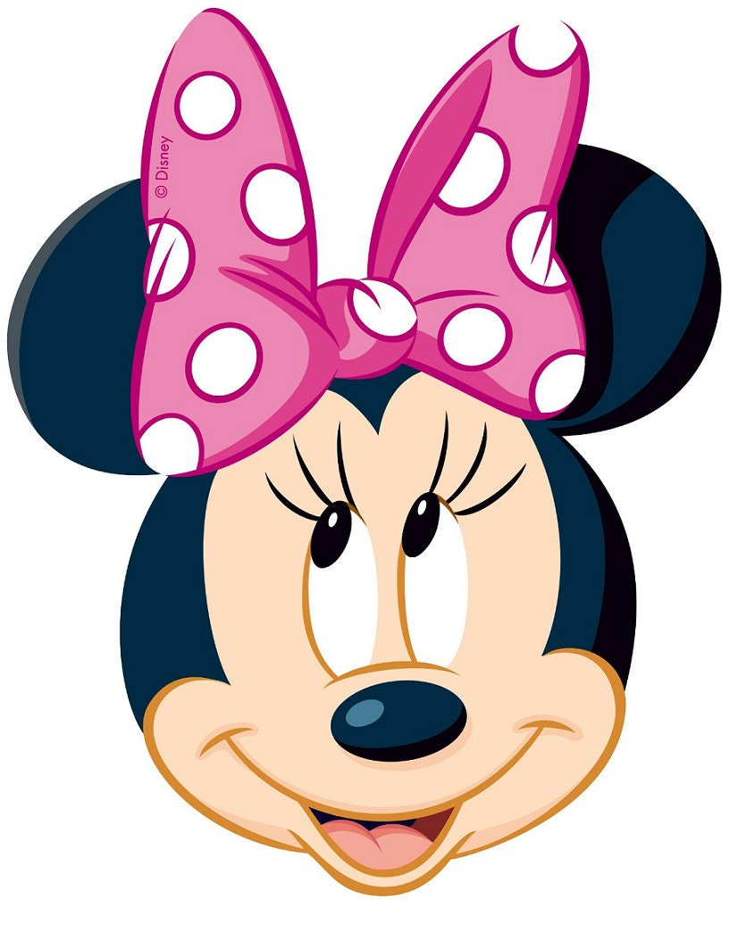 Minnie Mouse Pink Polka Dot Bow Iron On Transfer