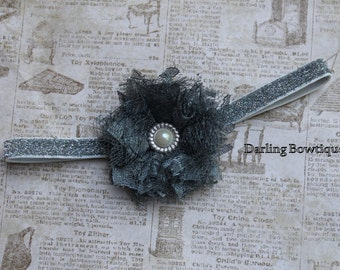 Glitter and Lace Elastic Headband in Silver/Gray