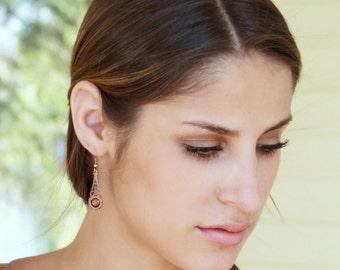 Copper Earrings, Filigree Earrings, Prom Jewelry, Teen Earrings, Vintage Style, Delicate Earrings, Art Deco Jewelry, Art Nouveau Earrings