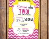 Girls birthday invitation with chevron, polka dots, fuschia, yellow, girl birthday invite, first birthday, digital, printable file (item209)