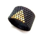 Gold Triangle Ring, Beaded Black Ring, Black Triangle Ring, Dreadlock Bead, Geometric Ring, Cleopatra Ring, Urban, Modern, Minimalist