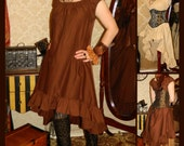 20% OFF SALE Cap Sleeved Ragamuffin Dress in Cotton -- Custom Made in Your Size and Color Choice
