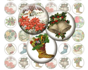 Vintage Christmas Bottlecap Images / Printable Digital Collage 1-Inch Circles / Holiday Decor, Bells, Stockings / Instant Download