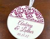 Ivy Vines Anniversary Christmas Ornament - Personalized Porcelain Couples Love Holiday Ornament Gift - Newlyweds - orn211 - Custom Colors