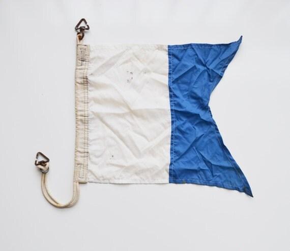 Vintage Naval Signal Flag Nautical Signal Flag Blue and White Flag Alpha Signal Flag Diver Down