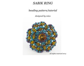 Sabik Ring - Beading Pattern/Tutorial - PDF file for personal use only