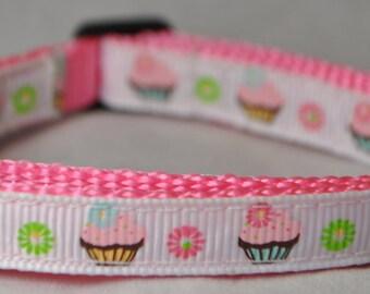 "Cupcakes 3/8"" Adjustable Dog Collar"