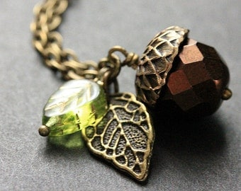 Dark Brown Acorn Necklace. Crystal Acorn Necklace. Acorn Charm Necklace in Bronze. Handmade Jewelry.