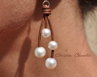 Pearl and Leather Earrings - White 4 Pearl on Brown Leather - Pearl and Leather Jewelry Collection