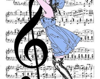 MUSIC RETRO 45 Giclee Print Poster Mixed Media Painting Illustration Drawing