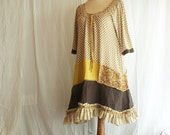 Recycled Woman's Day Dress 3/4 Sleeve in Beige Mustard Brown with Flounce  Upcycled Woman's Clothing Casual Dress Funky Eco Friendly - cutrag